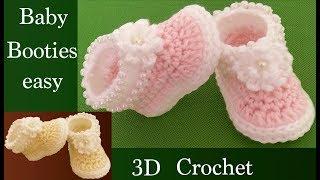 Zapatos a Crochet para bebes con flores 3D y bordados tejido tallermanualperu