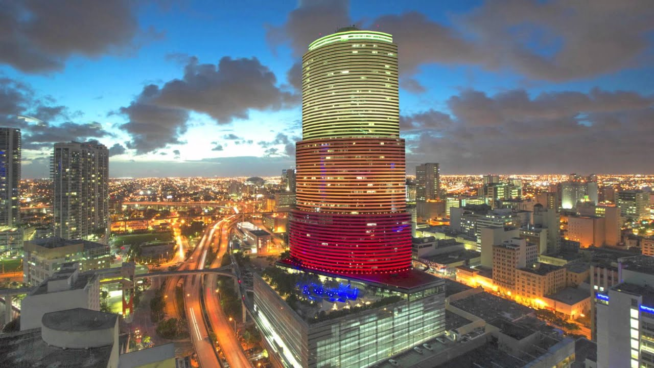 Miami Tower Shines Bright With Color Changing Led Lights