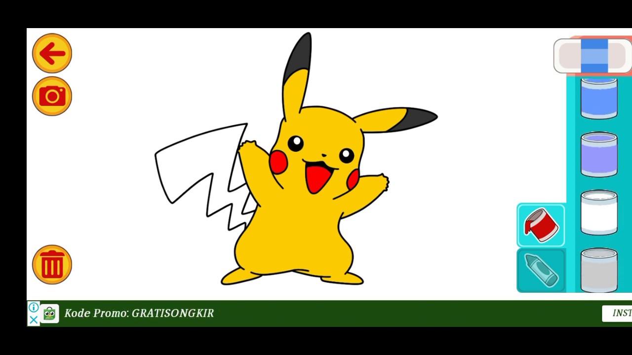 Mewarnai Karakter Kartun Pikachu