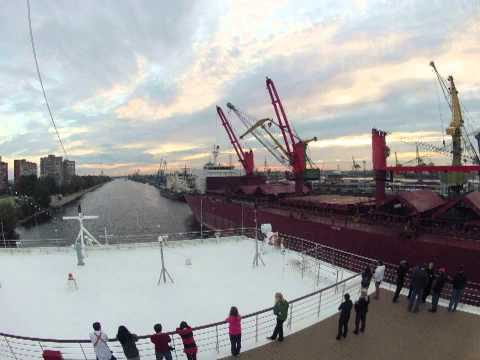 Sailing up the Neva River: St Petersburg port entry timelapse