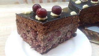 ТОРТ ПЬЯНАЯ ВИШНЯ - ОЧЕНЬ ВКУСНЫЙ РЕЦЕПТ!!! Шоколадный Бисквитный Торт с кремом и вишней!!!