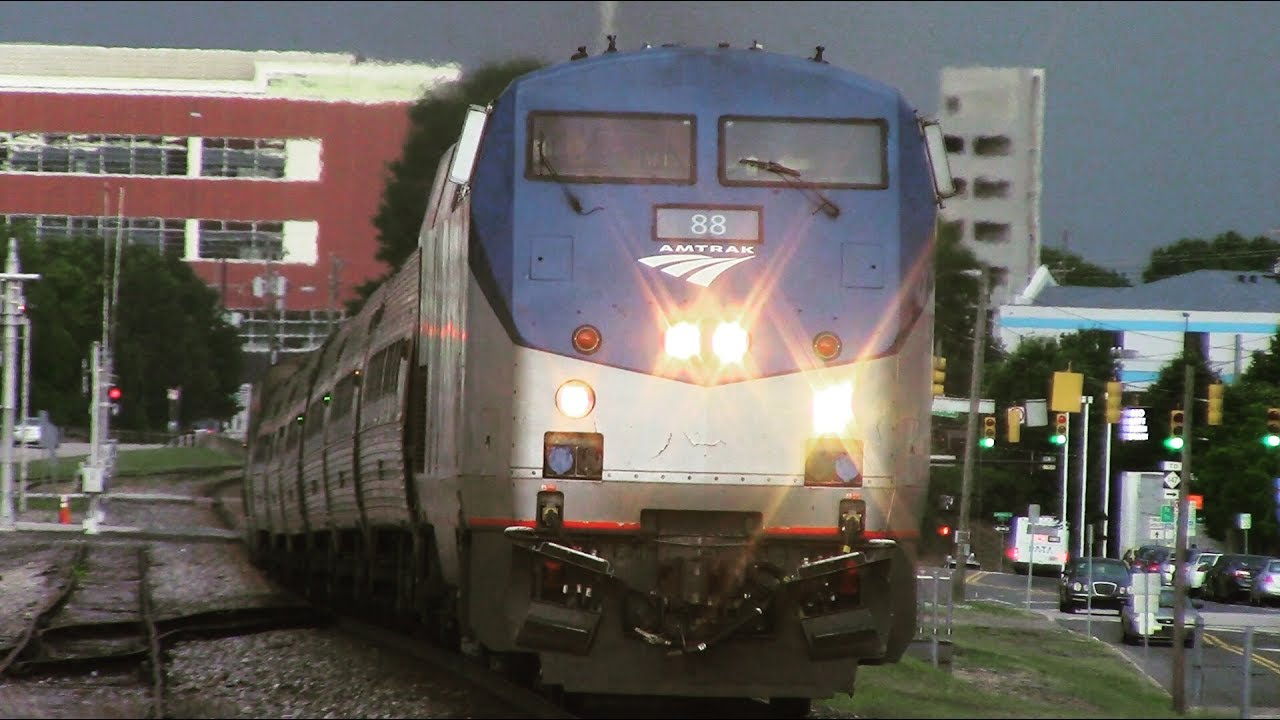 EXTREMELY Close Call!!! Amtrak Carolinian Train 79 Arriving and Departing  Durham, NC