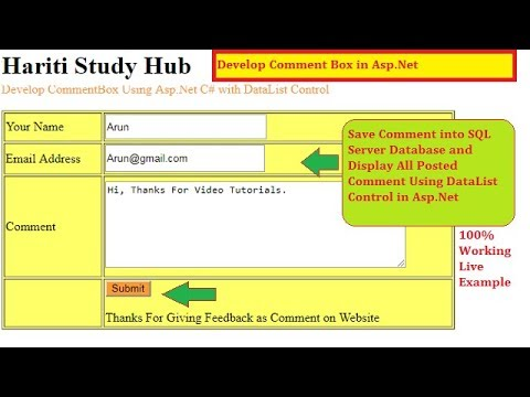 Develop Comment System in Website Using Asp.Net C# | Hindi | Free Online Classes