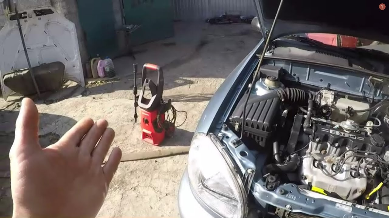 Как помыть двигатель.Мойка высокого давления  INTERTOOL DT-1515.