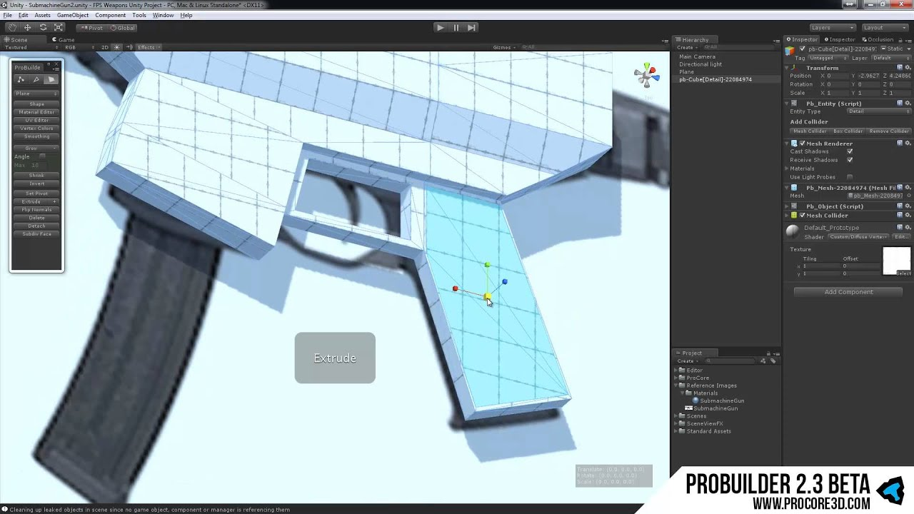 Low Poly Modeling with ProBuilder 2 3 Beta Submachine Gun