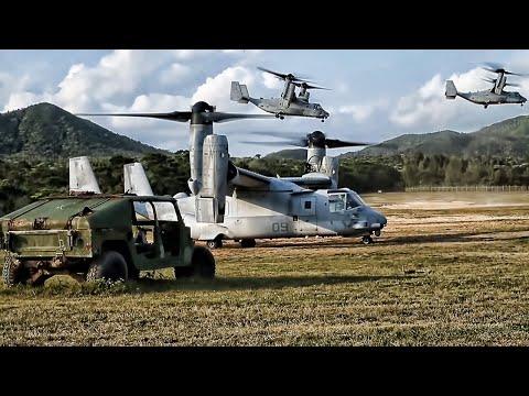 Marines Board CH-53E Helicopters & MV-22B Ospreys (2021)
