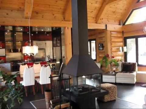 Maison en bois rond quebec youtube for Interieur chalet bois