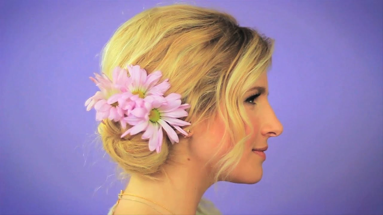 Easy Messy Hair Bun With Flowers Beauty Bite With Mr