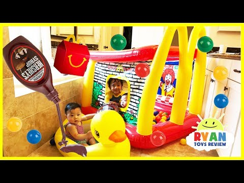Thumbnail: McDonald's Drive Thru Prank in the Bathroom! Giant Ball Pits Water Inflatable toys with Giant Food