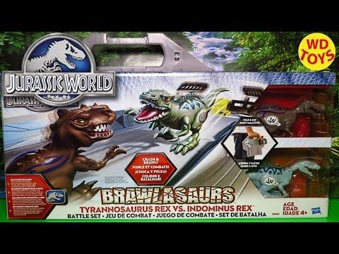 Jurassic World Brawlasaurs Dino Battle Playset Video For Kids T-Rex vs Indominus Rex Unboxing