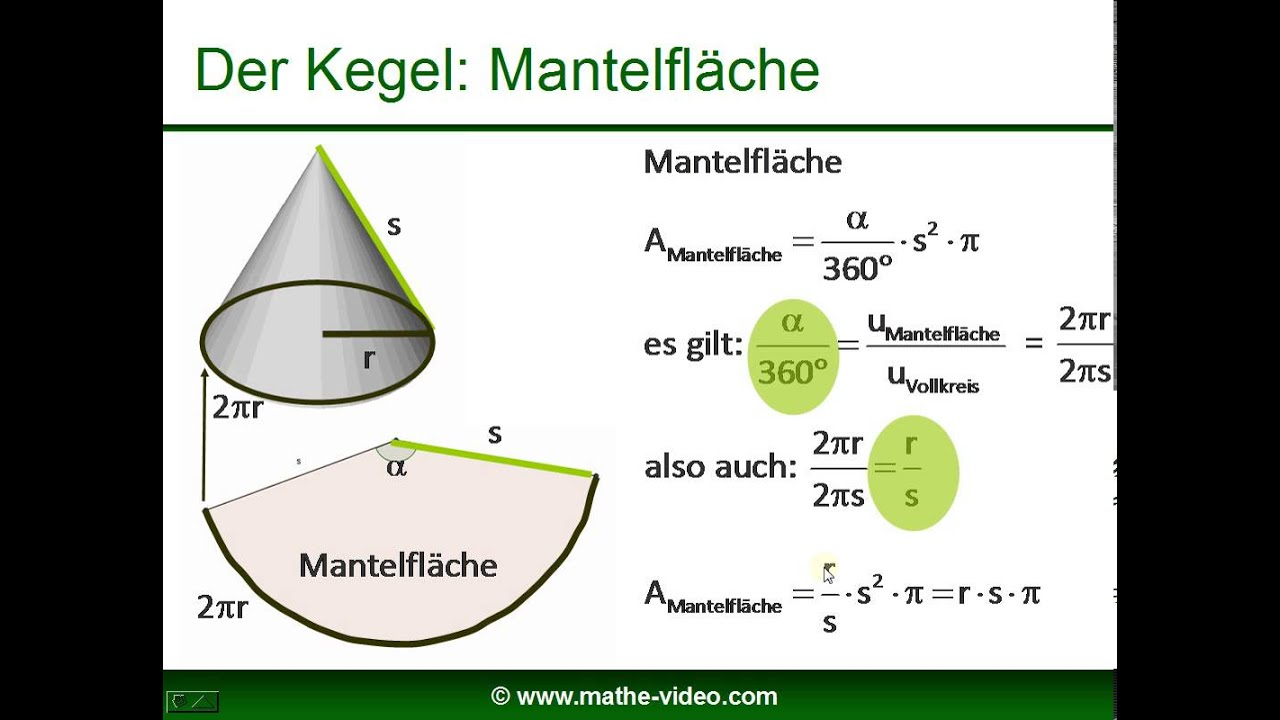 kegel - volumen - mantelfläche - oberfläche - youtube