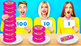 100 LAYERS FOOD CHALLENGE | 100+ Coats of Big Gummy Pizza and Candy by RATATA