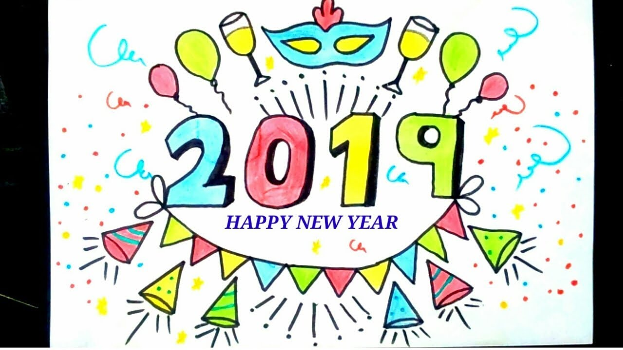 2019 Happy New Year Drawing How To Draw Happy New Year Easy Drawing