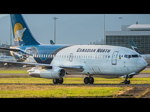 (4K) ULTRA RARE: Canadian North 737-200 Combi Golden Hour Arrival \u0026 Departure At Vancouver YVR