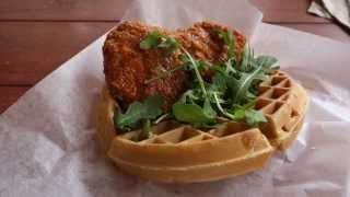 Walt Disney World Dining Review - Sweet And Spicy Chicken Waffle Sandwich
