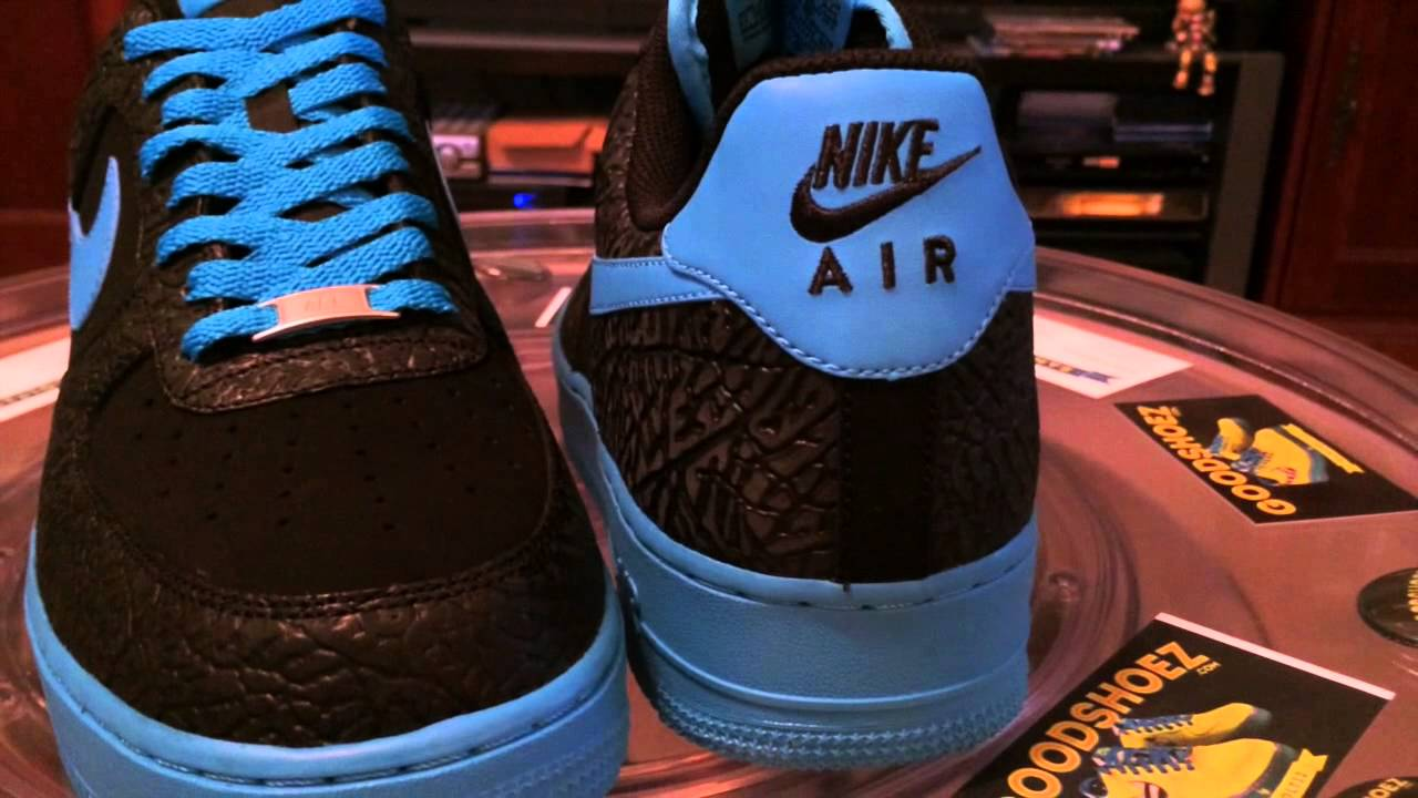 official photos c1247 a53d0 Nike Air Force 1 - JD Sports exclusive - Black (Elephant)  Vivid Blue -  with lace swap - 12-21-13 - YouTube
