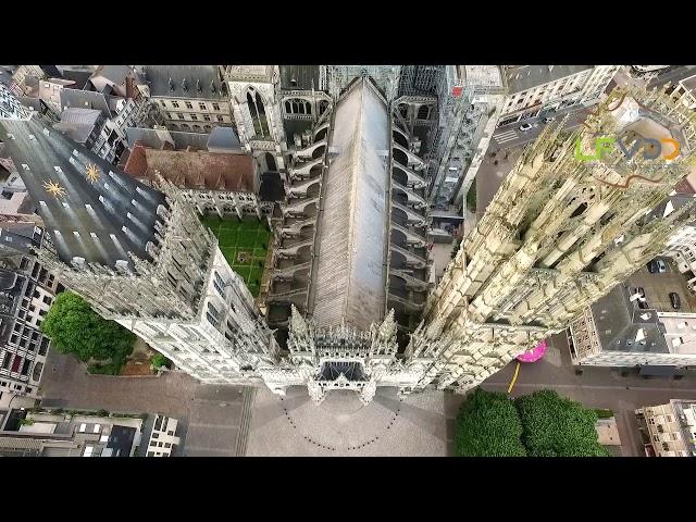 Cathedrale de Rouen en Seine-Maritime vue du drone, une vidéo LFVDD