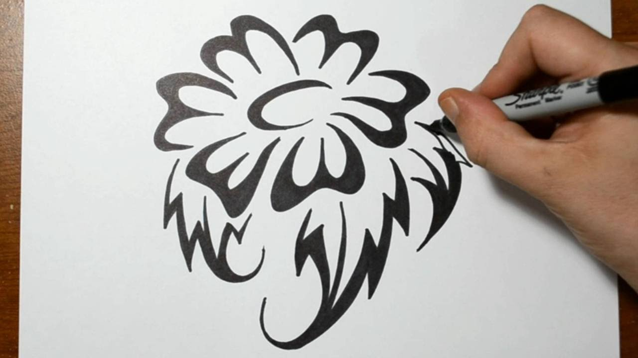 how to draw a flower tribal tattoo design style youtube. Black Bedroom Furniture Sets. Home Design Ideas