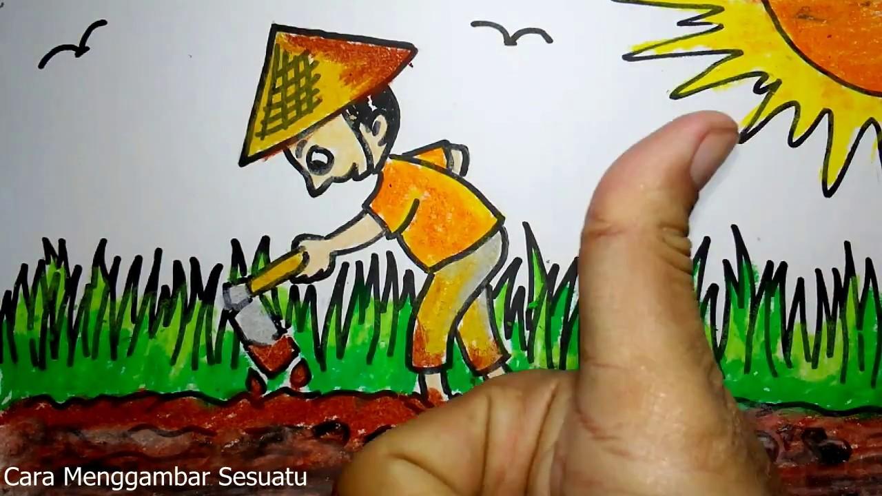 Cara Menggambar Petani Di Sawah
