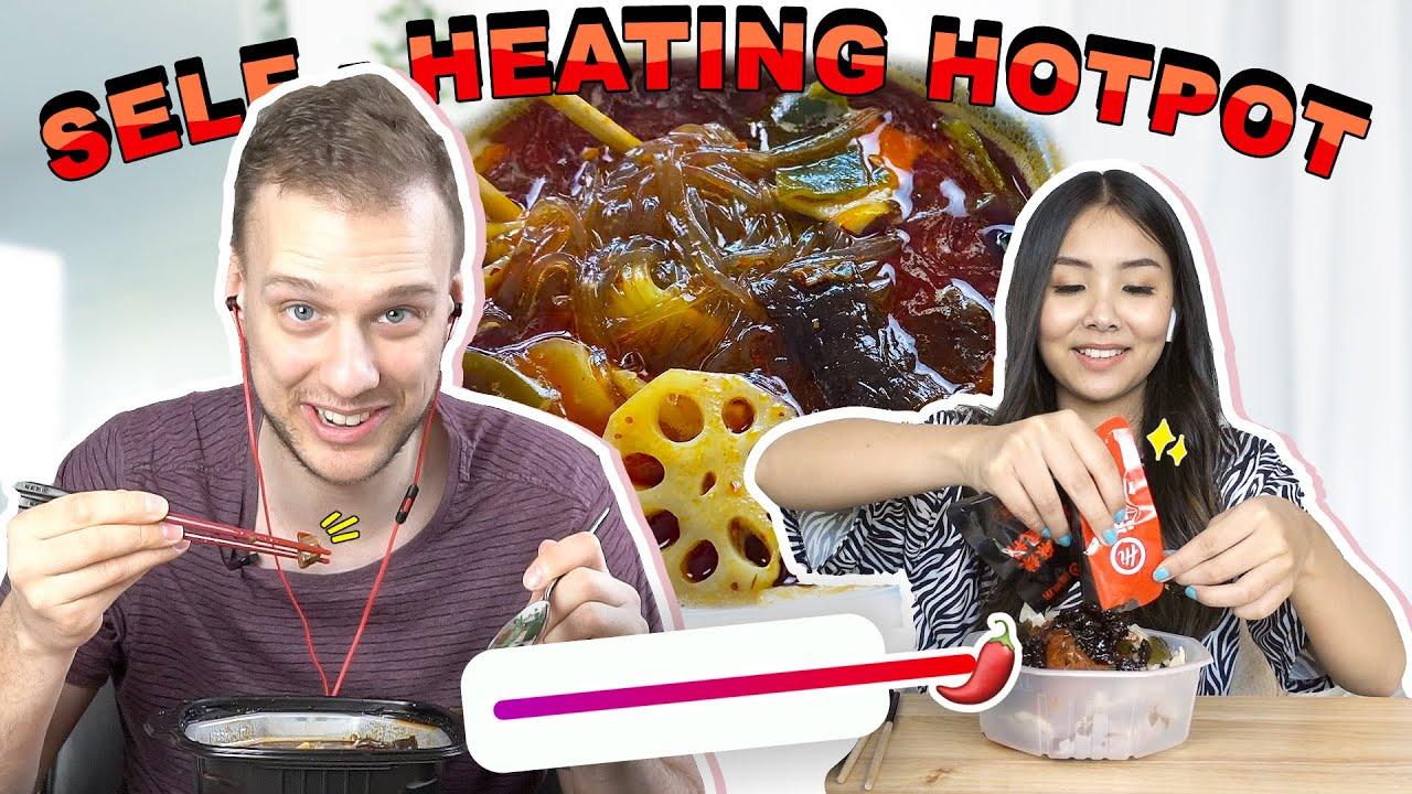 Trying Hai Di Lao Self-Heating Spicy Beef Hotpot! *MALA*
