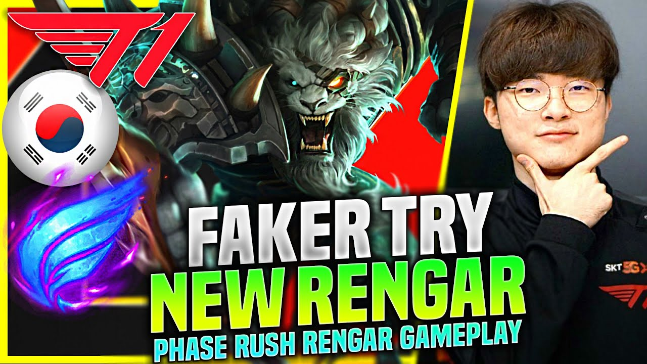 FAKER TRIES PHASE RUSH RENGAR! - T1 Faker Plays Rengar Jungle vs Graves!   KR SoloQ Patch 10.21