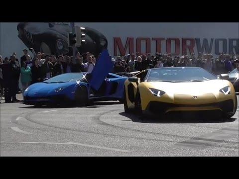 Seson Start 2017 at Motorworld Stuttgart [Lambrghinis ,Ferrari , burnout]   Supercars in Suttgart #5