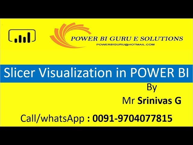 Slicer Visualization in Power BI | Power BI Training from Power BI Guru | Power Bi for Beginners