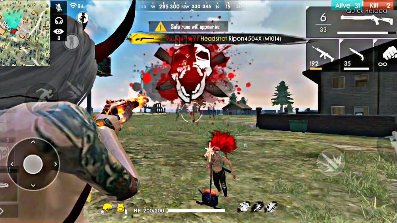 Free Fire Best Player On Phone Part2 Insane Headshot Villain Gaming Youtube