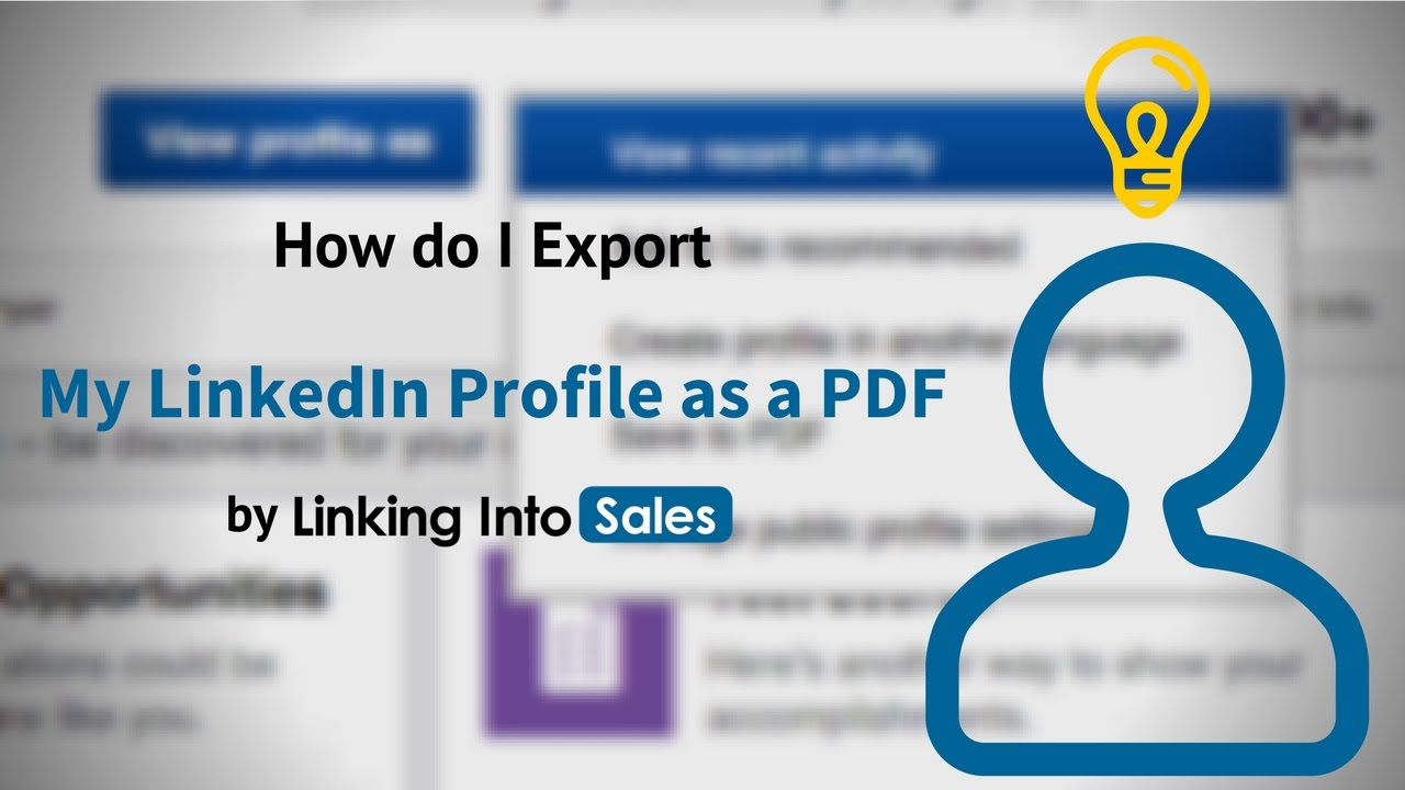 how do i export my linkedin profile as a pdf youtube