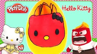 Play Doh Inside Out Inspired Hello Kitty Anger Giant Surprise Egg! Play-Doh Toys by DCTC