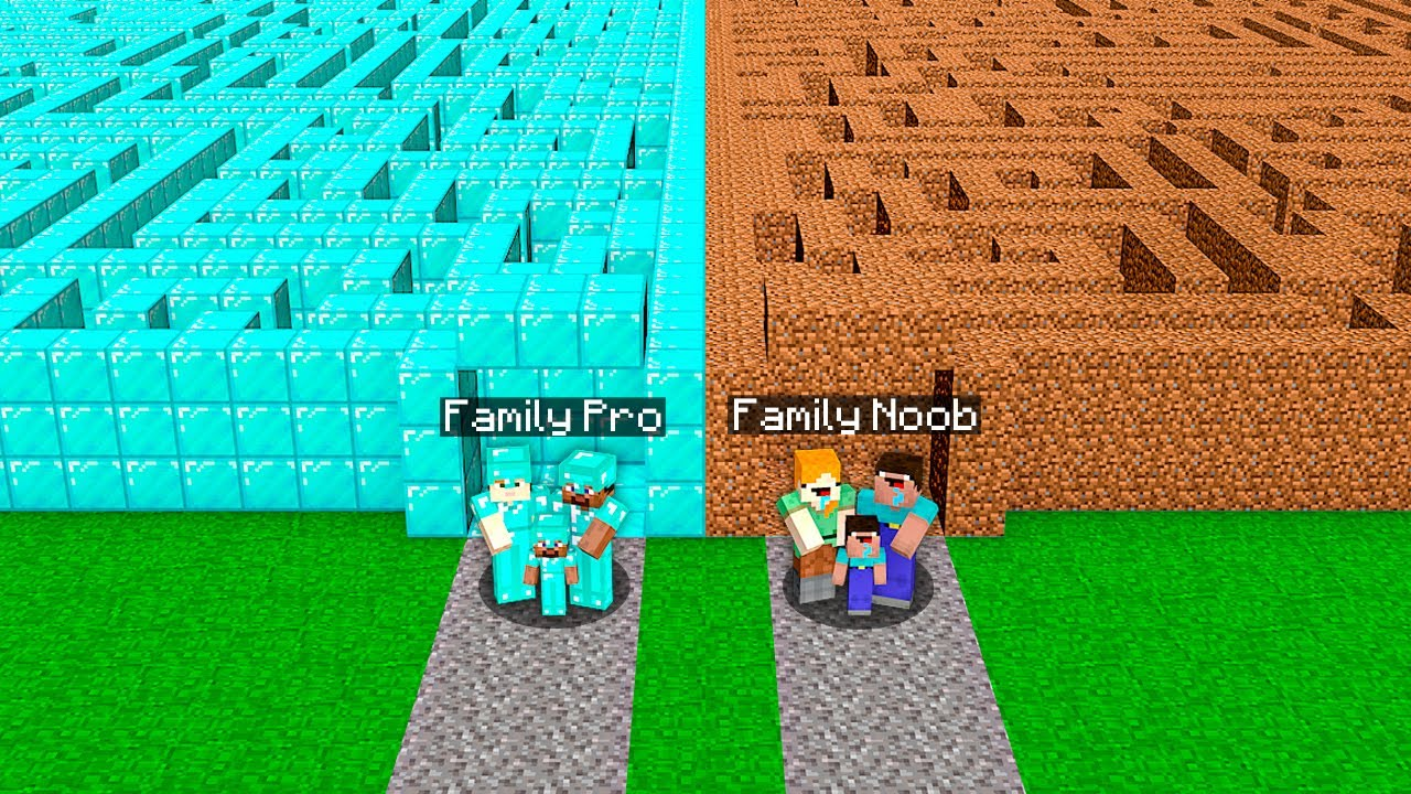 SECRET FAMILY MAZE CHALLENGE! DIRT VS DIAMOND! Minecraft NOOB vs PRO! 100% TROLLING IN VILLAGE
