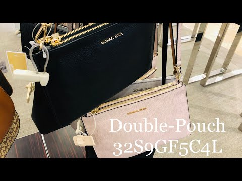 MICHAEL KORS ☜SHOPPING☞  Large Pebbled Leather Double-Pouch Crossbody / 32S9GF5C4L / Black