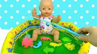 #Бебибон в Басейні Ляльки Пупсики Грають в Рибалку і Слайм Іграшки Для дітей Як мама