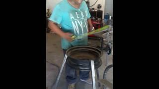 Como hacer un azador con un rin de carro