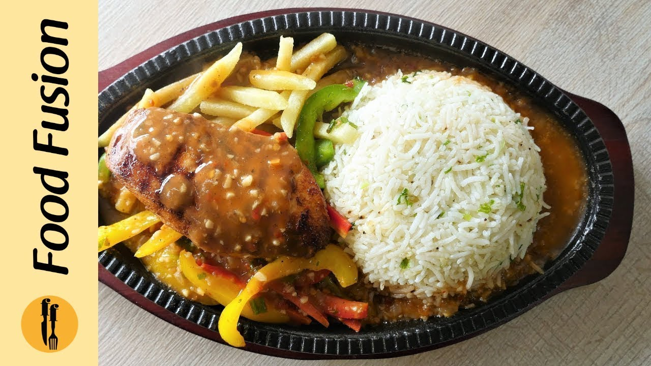 Chicken Sizzler with Garlic Rice Recipe By Food Fusion