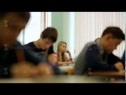 Russia, Novosibirsk, 2015: Students in the class during the lesson