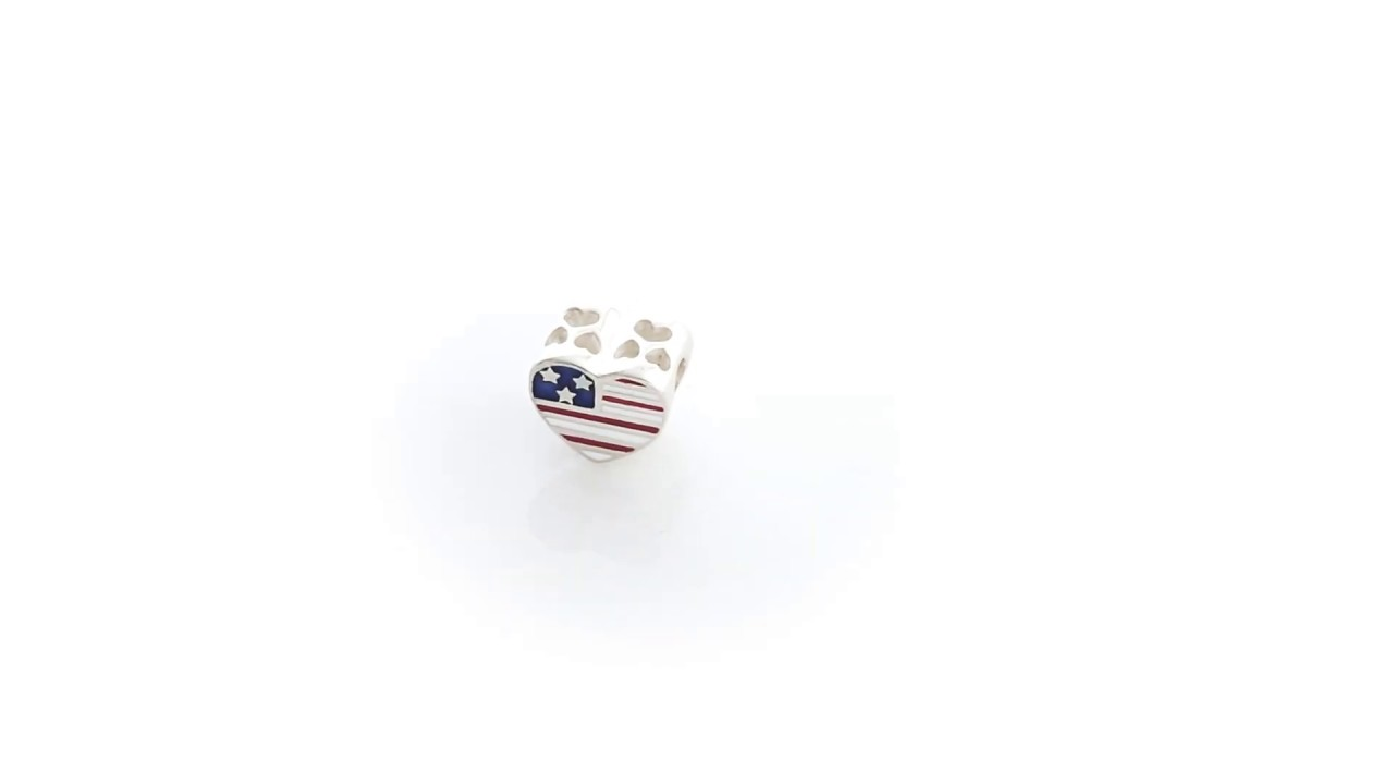 Bling Jewelry 925 Silver USA Flag Military Mom Heart Bead