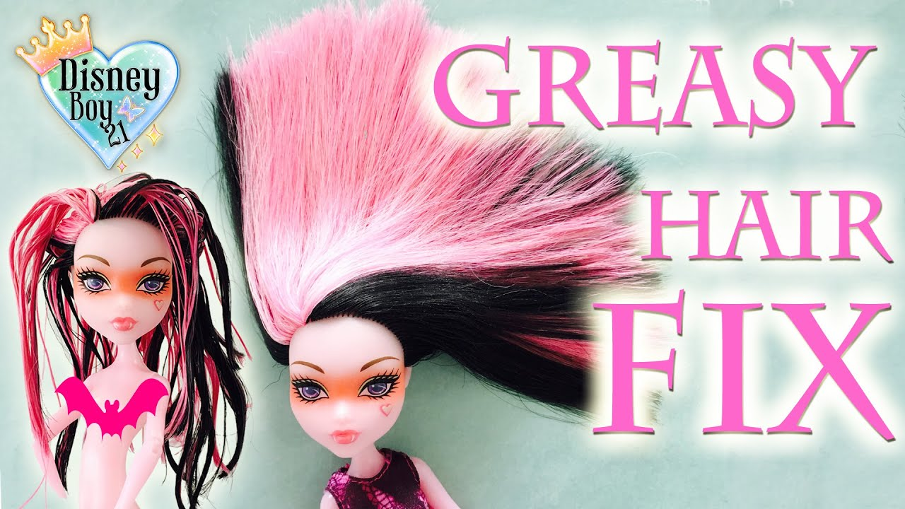 Styling Doll Hair How To Fix  Wash Greasy Sticky Doll Hair Tutorial  Monster High .