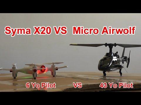 Micro RC Bell 222 Airwolf Vs Syma X20 Pocket Drone