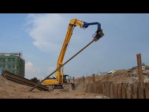 Long Boom Excavator Vibratory Hammer Sheet Pile Installation (Full Videos Detail)