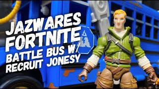 """Features Two 4"""" Action Figures Recruit Fortnite Battle Bus Deluxe Vehicle"""