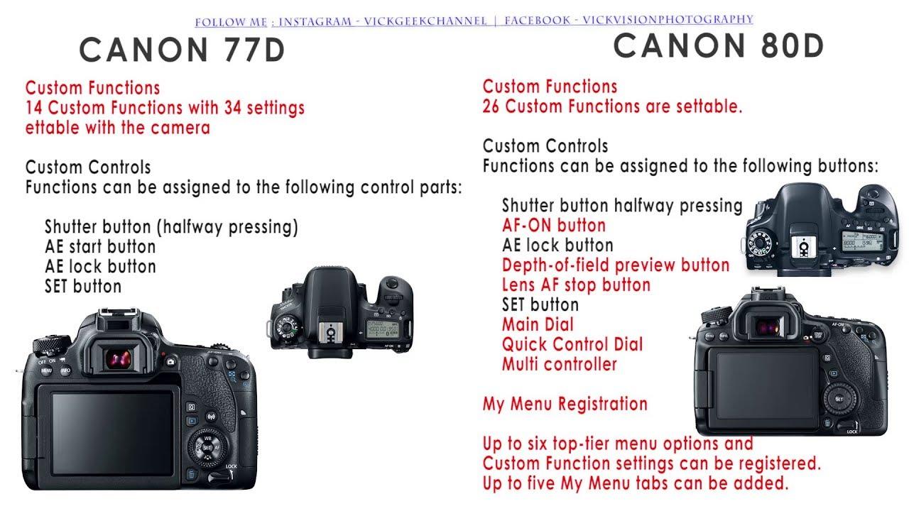 Canon 77D vs Canon80D detailed specs comparison review