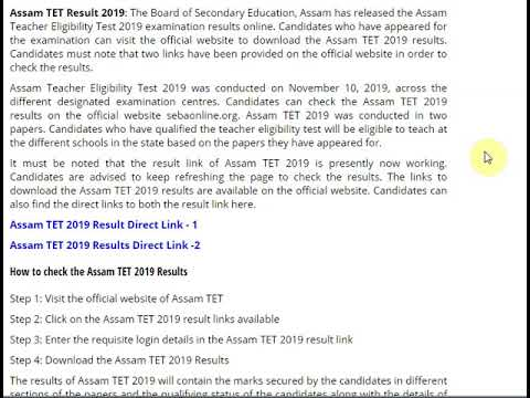 Assam TET 2019 Results Released, Check at sebaonline.org, Get Direct Lin...