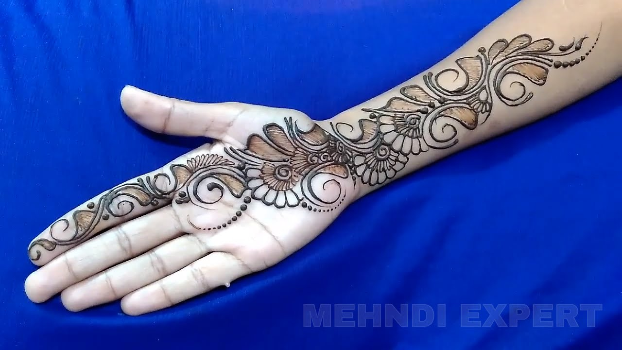 4f6acea268d74 New Easy and Simple Arabic Henna design for hands ☆ Step By Step Tutorial -  YouTube
