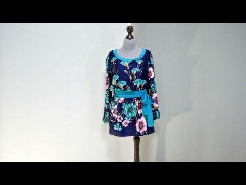 Темно-синяя блуза-туника из шелка
