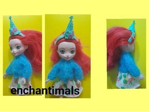 Кофта из мохера спицами для куклы Enchantimals.Одежда для кукол.