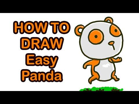 วาดรูประบายสีการ์ตูน แพนด้าสีส้ม ง่าย