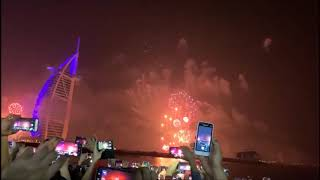 Dubai's most iconic landmark Burj Al Arab lights up for the new year with its widely anticipated NYE