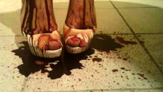 Crossdresser Lola Dephsacha Red High Heels Mule Feet Fetish Toe Sandal Sexy Shoe