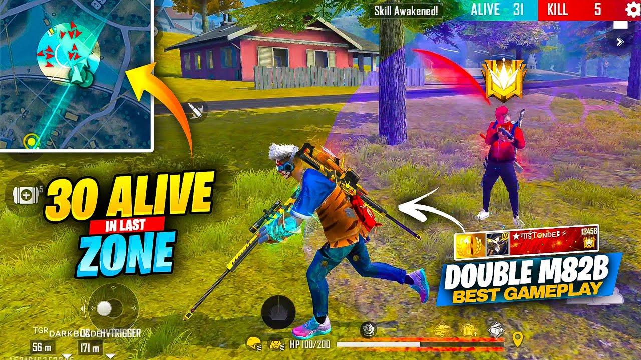 Double M82B Best Gameplay 😲 in 30 Alive Last Zone of Grandmaster Pro Lobby - क्या Booyah होगा ??